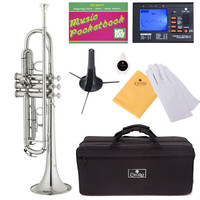 Cecilio 2Series Nickel Plated Bb Trumpet + Tuner, Case, Stand, Pocketbook & Accessories : K K Music Store: Musical Instruments - Violin, Viola, Cello, Saxophone, Trumpet, Trombone, Guitar, Flute, Piccolo, Clarinet & more