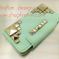 Mint leatherette wallet stand combo case iPhone 5 silver studs