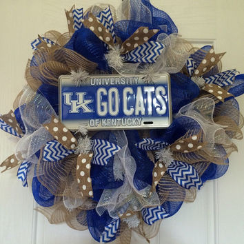 Go Cats!!! University of Kentucky inspired deco mesh wreath, front door wreath, UK wreath