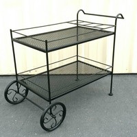Wrought Iron Cart Bar Cart Tea or Serving Cart Coffee Station Potted Plant Garden Flower Cart Carriage Black Metal Steel Wheels Vintage Chic