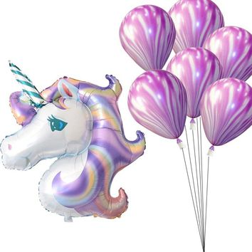 Rainbow Purple Unicorn Foil Balloons 8pcs/set Marble Agate Latex Baloon Unicorn Party Supplies Birthday Party Decorations Globos