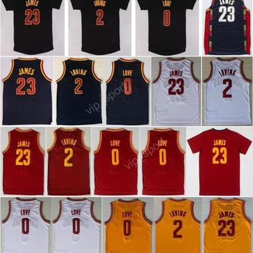 Hot Sale 2 Kyrie Irving Basketball Jerseys Men Throwback 23 Lebron James 0 Kevin Love Jersey Sport All Stitched Red White Yellow  - Beauty Ticksnavy Blue