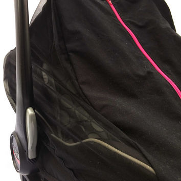 Fitted cotton car seat cover for spring/summer - Black fitted infant carseat canopy with pink zipper - Mosquito net baby carseat cover
