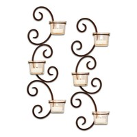 San Miguel 2-pc. Classic Tealight Candleholder Wall Sconce Set (Brown/Off-White)