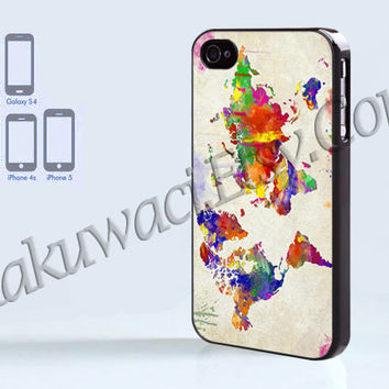 World Map Colorfull - iPhone 4 case - iPhone 4S case - Samsung Galaxy S3/S4 - iPhone case - Hard Plastic - Case Soft Rubber Case