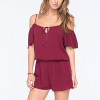 Socialite Cold Shoulder Womens Peasant Romper Burgundy  In Sizes