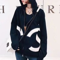 """Chanel"" Women Loose Casual Multicolor Stitching Letter Long Sleeve Zip Cardigan Hooded Coat"