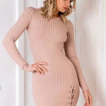 Winter Women's Fashion Sweater Stylish Knit One Piece Dress [31068913690]