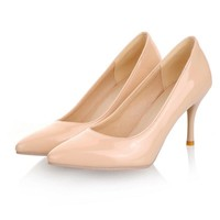 Nude Color Patent Leather Pumps Work ,Office High Heel Pump Stilettos Shoes sapatos d