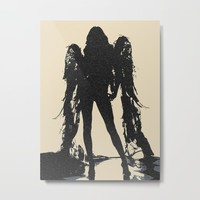 Angel of Death, hot erotic pop art illustration, sexy naked girl abstract stencil Metal Print by hmdesignspl