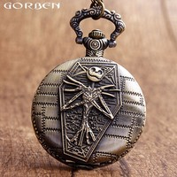 Special Design Pocket Watch Bronze The Nightmare Before Christmas Skeleton Quartz Pocket Watch Halloween Boys Watches Men Gifts