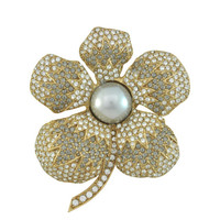 Ciner Large Grey Pearl Flower Brooch | SOPHIESCLOSET.COM | Designer Jewelry & Accessories