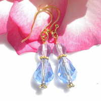 Blue Topaz Blue Rose Quartz Gemstone Earrings 22K Vermeil Gold