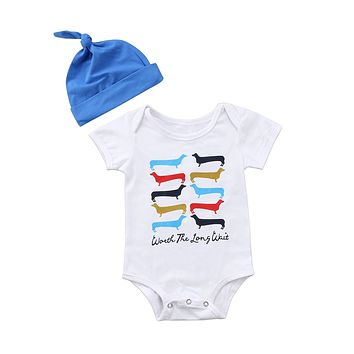 2018 Baby Boys Girls Infant Toddler Newborn Short Sleeves Colorful Dog Headband Jumpsuit Bodysuit Cute Outfits