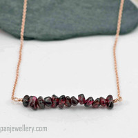 Garnet bar rose gold necklace - garnet, red, gemstone, 14K rose gold, dainty, January birthstone, gift for her, feminine, handmade, modern