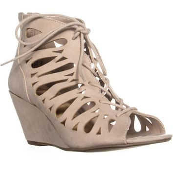 MG35 Harlie Perforated Lace Up Wedge Sandals, Taupe, 7 US