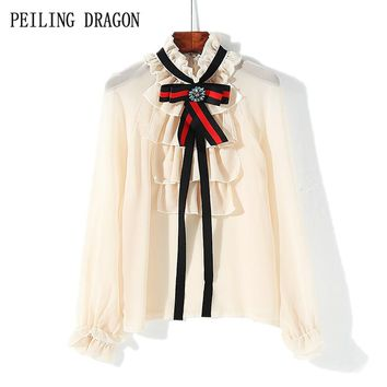 PEILING DRAGON 2018 spring sweet new petal stand collar ruffles beading bow tie long sleeve chiffon bottoming shirt blouse T1563