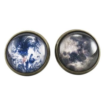 Earth And Moon Stud Earrings