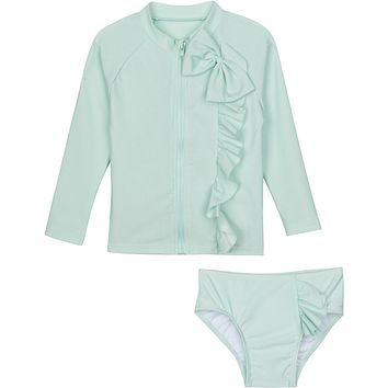 "Little Girl Long Sleeve Girl Rash Guard Swimsuit Set (2 Piece) - ""Mint Chip"""