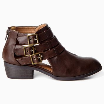 Brown-Cutout-Buckle-Ankle-Boot