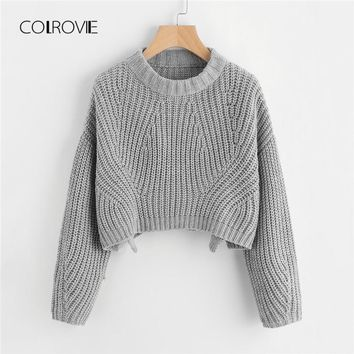 COLROVIE Grey Solid Casual Vented Chunky Knit Crop Women Sweater 0c313bc9d