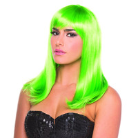 Green Solid Color Hollywood Bangs Wig