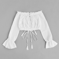 Off Shoulder Drawstring Split BlouseFor Women-romwe