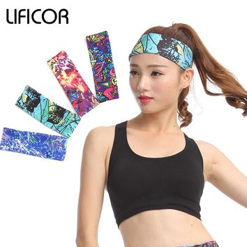 Sports Elastic Headbands - Yoga Fitness Women Stretch Head Wrap - Head Band Printing Girls Running Hair Accessories - Bandana Headwear