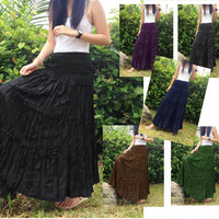 Long Broomstick Skirt / Dress - Tiered Crinkle - Gypsy, Boho, Hippie, Goth