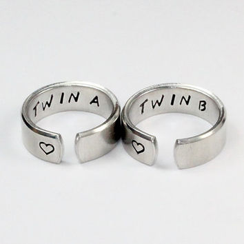 Twin A, Twin B Sister Ring Set, Twin Sisters Matching Pair Rings, Sister Jewelry, Hand Stamped Aluminum Ring