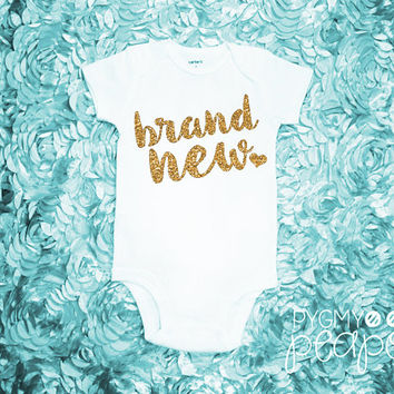 "Glitter Birth Announcement ""Brand New"" Newborn Baby Bodysuit - Baby Girl Coming Home Outfit - Baby Shower Gift - White with Gold Glitter"