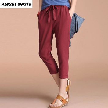 Casual Pencil Pants for Woman 2017 Summer Women's Clothing Cotton Linen Capri Pants Female Elastic Waist Trousers