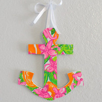 Lilly Pulitzer Inspired Hand-Painted Wooden Anchor in Peelin' Out