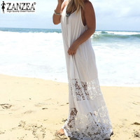 ZANZEA Women 2016 Summer Lace Casual Loose Long Maxi Solid Dress Sexy Strapless Beach Dresses Plus Size Sleeveless Vestidos