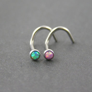 20G Fire Opal Nose Screws - Lot of 2 - Pink opal, Green opal, 20g, 2mm nose stud, nose ring, simple, dainty, small, tiny, corkscrew stud