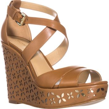 MICHAEL Michael Kors Sienna Floral Wedge Sandals, Acorn/Pale Gold, 7 US / 37 EU