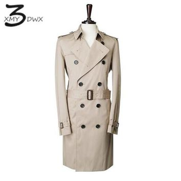 XMY3DWX Men premium pure cotton slim Fit long Double-breasted trench coat/male European style Premium brand Casual jacket S-XXL