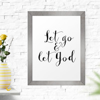 Printable Poster, Let Go And Let God, Wall Art, Poster, Inspirational,   Motivational, Word Art, Inspirational Quote, Scandinavian