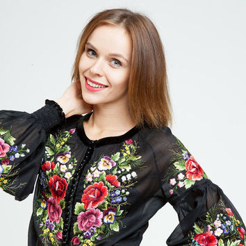 """Hand embroidered black blouse """"Roses"""" ukrainian hand embroidery"""