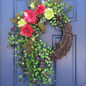 Spring Wreath Pink Green Door Decor Peony Wreaths Full Door Wreaths Summer Door Wreath