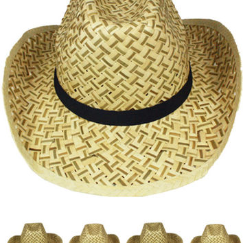 Straw Cowboy Hat with Black Band