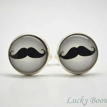 Mustache cuff links ,Curly Moustache Glass Art Cufflinks,Cabochon Mens Accessories,gift for him Father Dad CL5