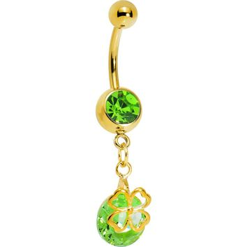 Gold Plated Peridot Green Gem Four Leaf Clover Belly Ring