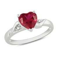 1 5/8 Carat Created Ruby & Diamond Heart Ring in Sterling Silver