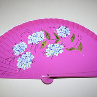 Spanish hand painted fan. Flamenco dance. Pink and blue flowers.