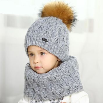 Knitted Winter Scarf and Hat Set for Kids