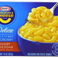 Kraft Macaroni & Cheese Deluxe Dinner, Sharp Cheddar, 14-Ounce Boxes (Pack of 12)