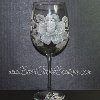 Hand Painted Wine Glass - White Rose - Original Designs by Cathy Kraemer
