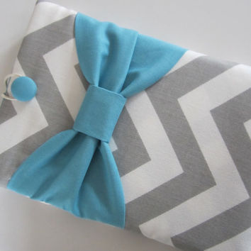 iPad Sleeve iPad Case iPad Cover iPad 2 iPad 3 iPad 4 Kindle Outer Pocket Grey Chevron with Teal Bow