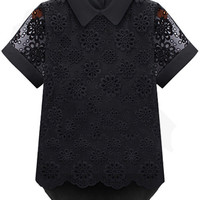 Black Lace Chiffon Pointed Flat Collar Short Sleeve Blouse